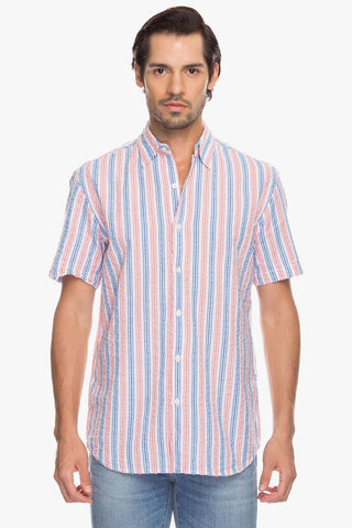 Cottonworld Men's Shirts Men Pink Slim Stripes Woven Shirts