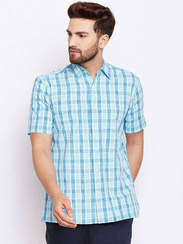 Cottonworld Men's Shirts MEN'S 100% COTTON AQUA REGULAR FIT SHIRTS