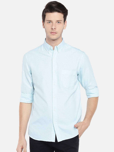 Men's Aqua Long Sleeve Button Down Oxford Shirt Regular Fit Cottonworld Men's Shirts