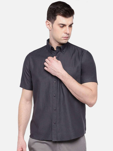 Men's Black Regular Fit Short Sleeve Oxford Shirt Cottonworld Men's Shirts