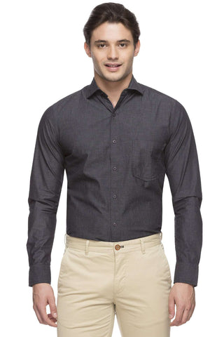 Cottonworld Men's Shirts MEN'S 100% COTTON BLACK SLIM FIT SHIRT