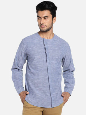 Mens Blue Haze Kurta Shirt With Cross Concealed Placket Cottonworld Men's Shirts
