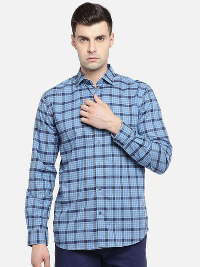 Men's Cotton Blue Regular Fit Checked Shirt Cottonworld Men's Shirts