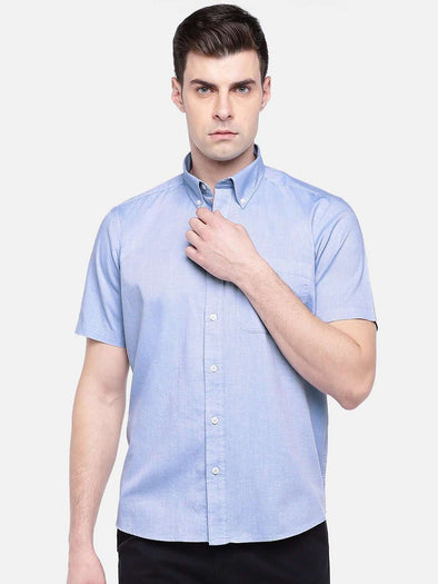 Men's Blue Regular Fit Short Sleeve Oxford Shirt Cottonworld Men's Shirts