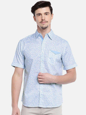 Men'S 100% Cotton Blue Regular Fit Shirts
