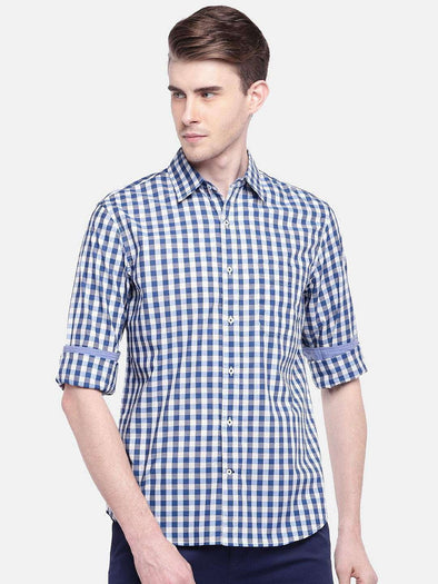 Men's Cotton Blue Regular Fit Gingham Checked Poplin Shirt Cottonworld Men's Shirts
