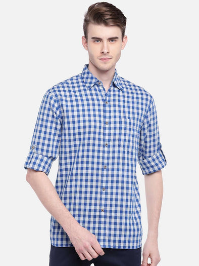 Men's Cotton Blue Regular Fit Gingham Cheked Shirt With Coloured Neps Cottonworld Men's Shirts