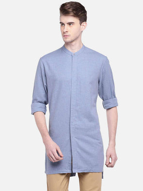 Men's Cotton Blue Regular Fit Kurta Shirt Cottonworld Men's Shirts