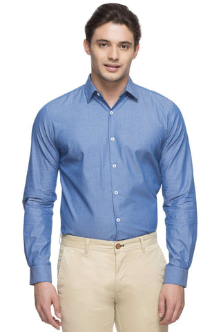 Cottonworld Men's Shirts MEN'S 100% COTTON BLUE SLIM FIT SHIRT