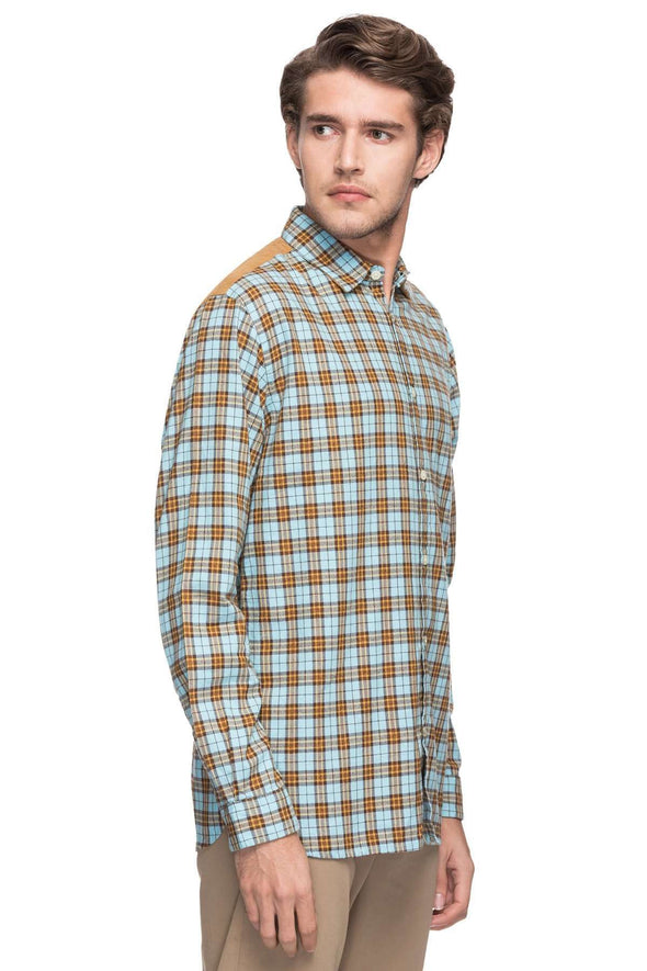 Cottonworld Men's Shirts MEN'S 100% COTTON BLUE SLIM FIT SHIRTS-14855-17490-BLUE