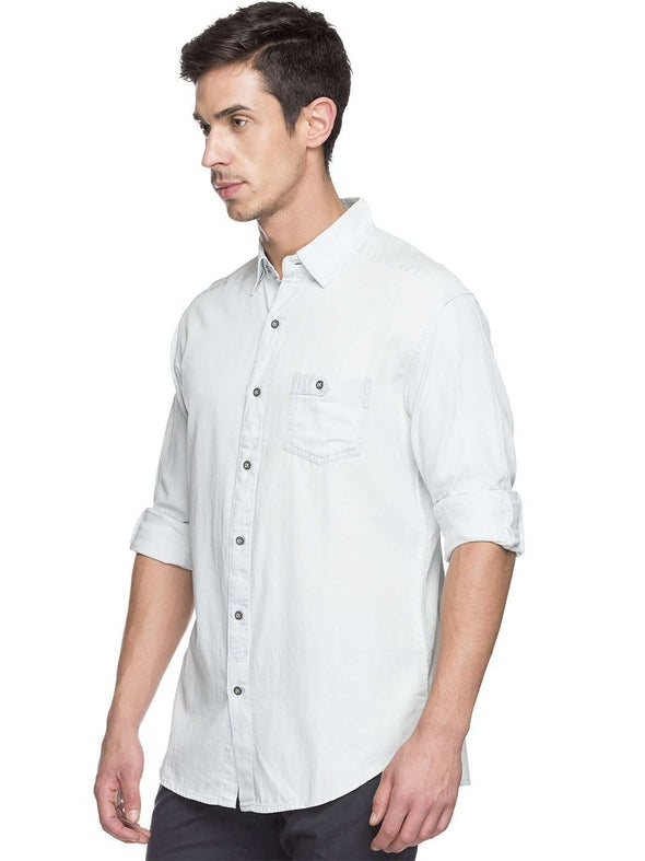 Cottonworld Men's Shirts MEN'S 100% COTTON BLUE SLIM FIT SHIRTS