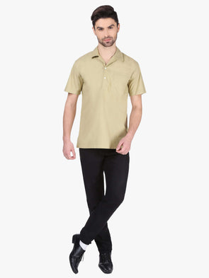 Cottonworld Men's Shirts MEN'S 100% COTTON CAMEL REGULAR FIT SHIRTS