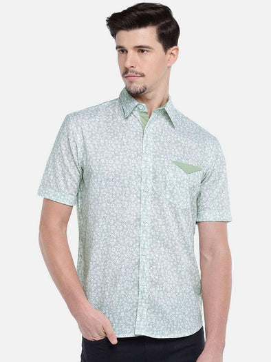 Men's Cotton Green Regular Fit Shirts Cottonworld Men's Shirts