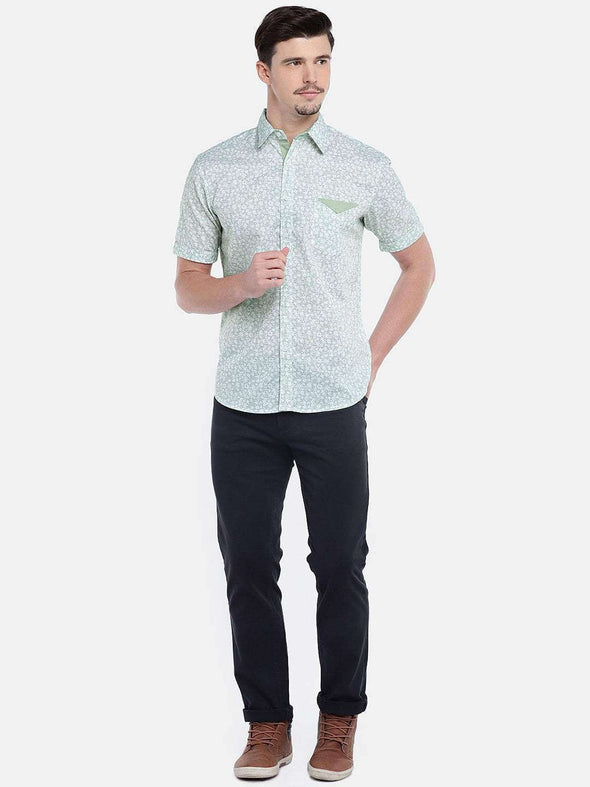 Cottonworld Men's Shirts MEN'S 100% COTTON GREEN REGULAR FIT SHIRTS
