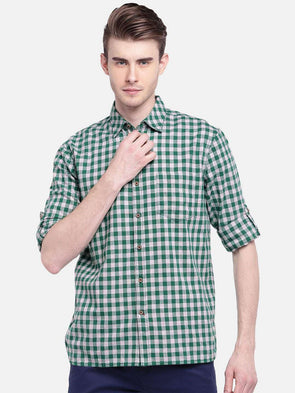 Men's Cotton Green Regular Fit Shirt Cottonworld Men's Shirts
