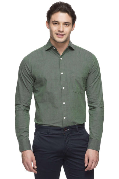 Cottonworld Men's Shirts MEN'S 100% COTTON GREEN SLIM FIT SHIRT