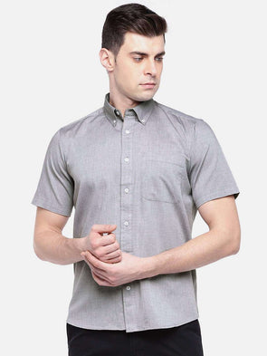 Men's Grey Regular Fit Short Sleeve Oxford Shirt Cottonworld Men's Shirts