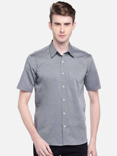 Cottonworld Men's Shirts MEN'S 100% COTTON GREY REGULAR FIT SHIRTS