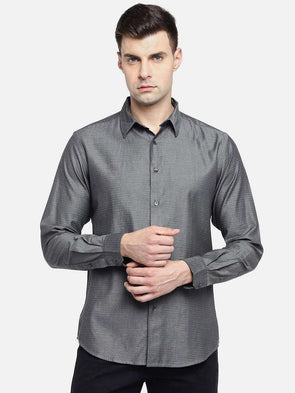 Cottonworld Men's Shirts MEN'S 100% COTTON GREY SLIM FIT SHIRTS