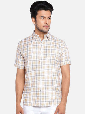 Cottonworld Men's Shirts MEN'S 100% COTTON KHAKI REGULAR FIT SHIRTS