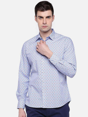 Men's Lblue Long Sleeve Slim Fit Jacquard Shirt Cottonworld Men's Shirts