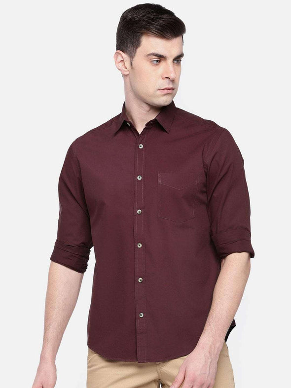 Cottonworld Men's Shirts MEN'S 100% COTTON MAROON REGULAR FIT SHIRTS