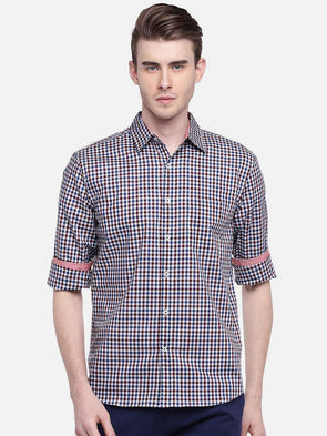 Men's Cotton Maroon Regular Fit Shirt Cottonworld Men's Shirts