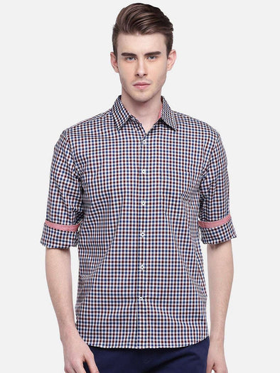 Men's Cotton Maroon Regular Fit Shirts Cottonworld Men's Shirts