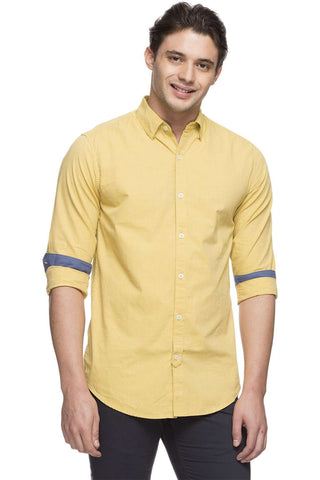 Cottonworld Men's Shirts MEN'S 100% COTTON MUSTARD SLIM FIT SHIRT
