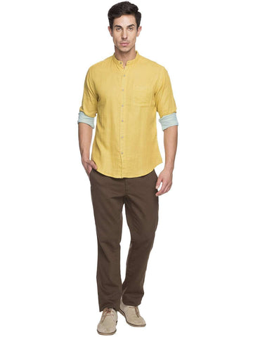 Cottonworld Men's Shirts MEN'S 100% COTTON MUSTARD SLIM FIT SHIRTS
