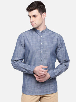 Men's Navy Regular Fit Band Collar Kurta Shirt With Contrast Detail In Cuffs And Band Cottonworld Men's Shirts