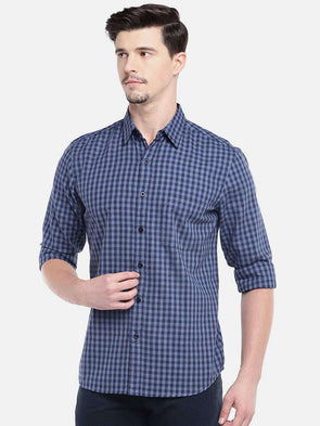 Men's Cotton Navy Regular Fit Shirt Cottonworld Men's Shirts