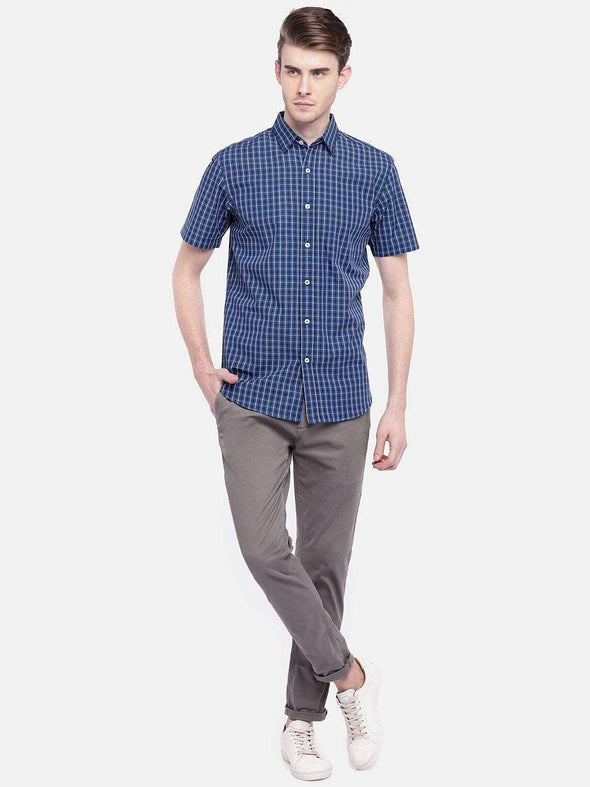 Cottonworld Men's Shirts MEN'S 100% COTTON NAVY REGULAR FIT SHIRTS