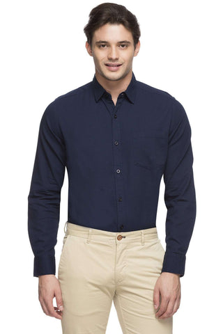 Cottonworld Men's Shirts MEN'S 100% COTTON NAVY SLIM FIT SHIRT