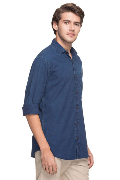 Cottonworld Men's Shirts MEN'S 100% COTTON NAVY SLIM FIT SHIRTS-14851-17601-NAVY