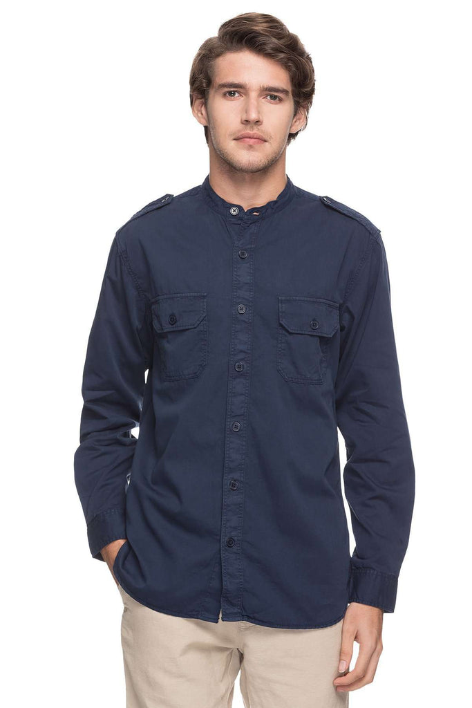 Cottonworld Men's Shirts MEN'S 100% COTTON NAVY SLIM FIT SHIRTS-15018-17605-NAVY