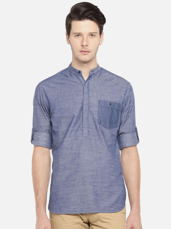 Men's Slim Fit Band Collar Indigo Kurta Shirt Cottonworld Men's Shirts