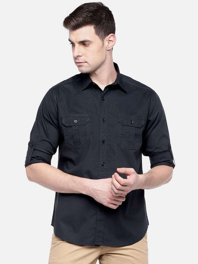 Cottonworld Men's Shirts MEN'S 100% COTTON NAVY SLIM FIT SHIRTS