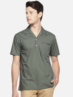 Men's Cotton Olive Pull On Bowling Collar Regular Fit Shirt Cottonworld Men's Shirts