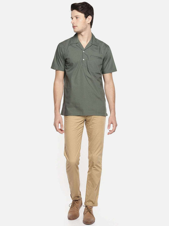 Men's Cotton Olive Regular Fit Shirt Cottonworld Men's Shirts