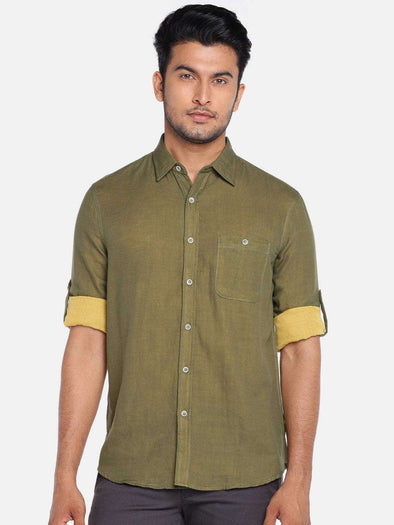 Men's Olive Regular Fit Roll Up Shirt With A Contrast Double Cloth Cottonworld Men's Shirts