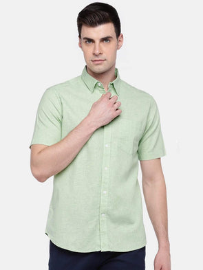 Cottonworld Men's Shirts MEN'S 100% COTTON OLIVE REGULAR FIT SHIRTS