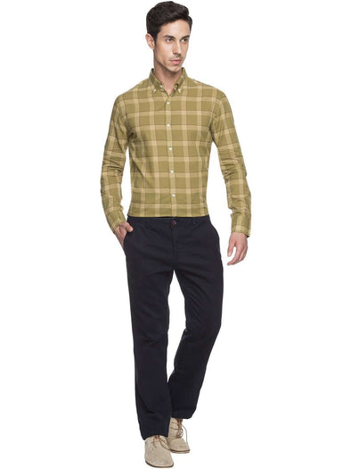 Cottonworld Men's Shirts MEN'S 100% COTTON OLIVE TAILORED FIT SHIRTS