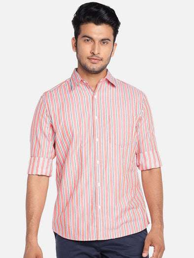 Men's Cotton Orange Regular Fit Shirts Cottonworld Men's Shirts
