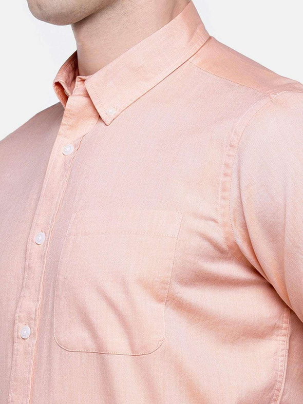 Men's Orange Regular Fit Short Sleeve Oxford Shirt Cottonworld Men's Shirts