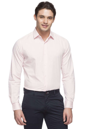 Cottonworld Men's Shirts MEN'S 100% COTTON PINK SLIM FIT SHIRT