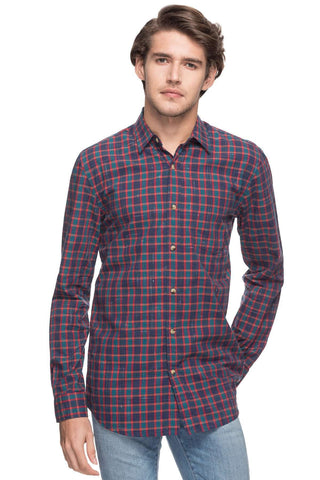 Cottonworld Men's Shirts MEN'S 100% COTTON RED REGULAR FIT SHIRTS-13484-17489-RED