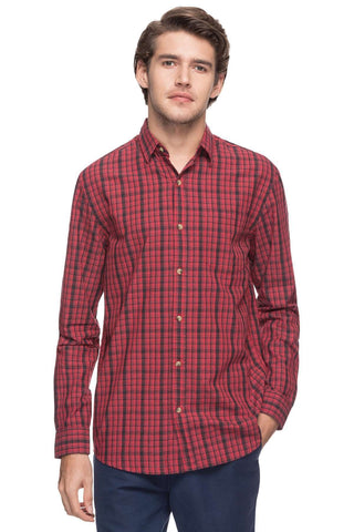Cottonworld Men's Shirts MEN'S 100% COTTON RED REGULAR FIT SHIRTS-13484-17491-RED