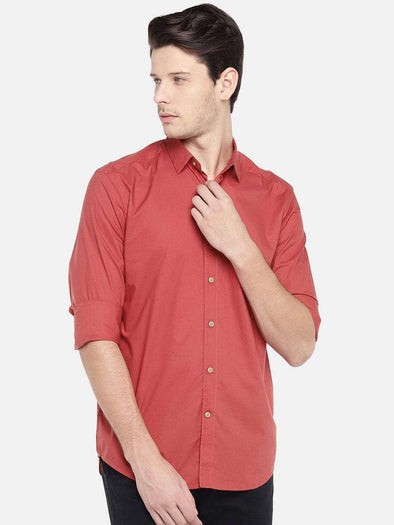 Men's Red Regular Fit Fine Poplin Shirt Cottonworld Men's Shirts