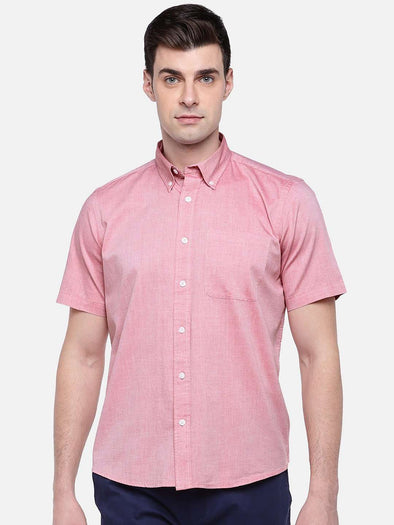 Men's Red Regular Fit Short Sleeve Oxford Shirt Cottonworld Men's Shirts
